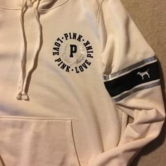 PINK HOODIE Cream black and silver. Worn maybe 2-3 times. No pills or stains PINK Victoria's Secret Tops Sweatshirts & Hoodies