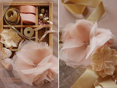 I'm so excited to share these DIY Chiffon and Tulle flowers from Project Wedding. They are absolutely beautiful and you can use them in so many creative ways! I was thinking you can make a ribbon belt, hair pins or even sew them onto a shirt! These would also make gorgeous gifts!   Supplies: Fabric (in …