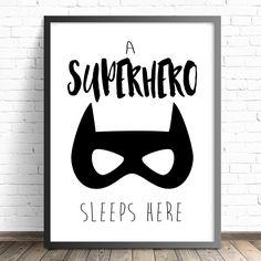 Superhero Nursery Print, A Superhero Sleeps Here Nursery Print, Boys Bedroom Print, Batman Nursery Print, Superhero Print, Batman Print by ThePrintStoreforKids on Etsy