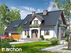Dom w werbenach 5 Family House Plans, House Floor Plans, Attic Design, Sims 4 Houses, Facade House, Home Fashion, My Dream Home, Future House, Home Projects