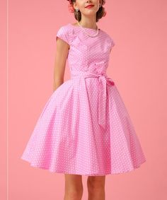 Loving this Pink & White Dot Bow-Accent A-Line Dress on #zulily! #zulilyfinds