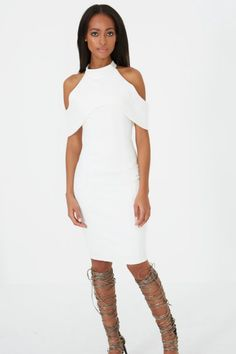 c2e056d45b Cold Shoulder Midi Dress With Sleeves