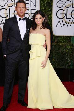 Channing Tatum With Jenna Dewan At The Golden Globe Awards, 2015
