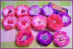 Dollar store luau flower petal hair clip bows