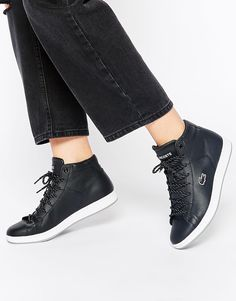 5b75722af2be Image 1 of Lacoste Carnaby Leather Evo Mid WNT Hi-Top Sneakers Black High  Top