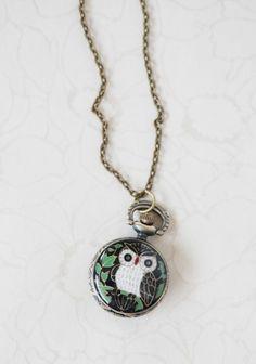 Nocturnal Wisdom Owl Watch Necklace