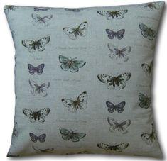 Cushion Cover Handmade Butterflies Lilac Aqua Vintage Linen Look Scatter Animal Cushions, Grey Pillows, Scatter Cushions, Throw Pillows, Cushion Covers Uk, Cushion Cover Designs, Pillow Covers