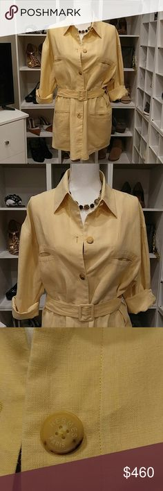 """HERMES YELLOW LINEN BELTED DRESS 4/6 Hermes Paris 100% Linen Dress. 4 pockets, front. Button closures,end of sleeves. Front buttons all the way down. Made to fit extremely short, see Kardashian photo and very baggy.. No size tag: This dress would fit a size 4 - 6. Bust across-24"""" from pit to pit Length-32"""", allow for draw due to belt at waist.  Excellent condition, However there is an area on the bottom rt. Pocket,see last photo, that is slightly lighter than the rest, about maybe an inch…"""