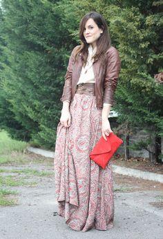 urbanNATURES Mountain Style: Paisley Maxi Skirt & Leather Jacket