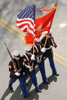Marine Corps color guard.