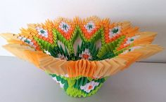 3d origami blooming bowl ombre by 3DOrigamiArtStudio on Etsy