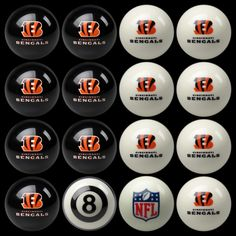 Cincinnati Bengals Home vs Away Billiard Balls