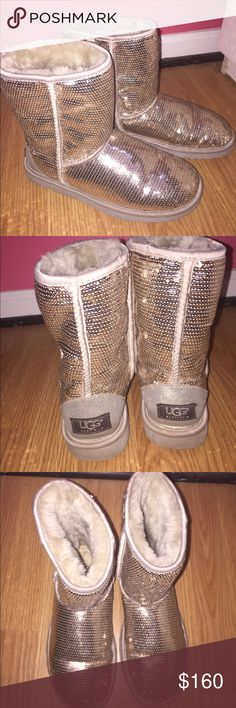 LIMITED EDITION Silver Glitter Uggs These LIMITED EDITION Silver Glitter Uggs would be a great addition to your closet for this winter. They are super warm and you'll be the talk of the town. UGG Shoes Winter & Rain Boots