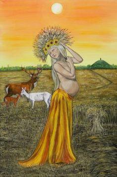 Ker by Elluna Art Size Print Ker, Mother of the abundant harvest, grain Goddess of plenty. Divine Mother, Mother Goddess, Wiccan Sabbats, Summer Goddess, Tarot, Pagan Art, Mother Art, Ukrainian Art, Season Of The Witch