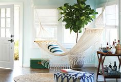 a hammock in the living room #decor #spring #redes