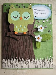 Create a Critter Cartridge. owl and branch on page tree trunk on page 58 layer 1 Homemade Birthday Cards, Homemade Cards, Scrapbook Cards, Scrapbooking, Create A Critter, Owl Card, Cricut Cards, Copics, Kids Cards