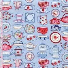 Tea Time  By The Henley Studio For Makower Fabrics Colors: Country Blue Ref # makower564b  $8.39    yd.