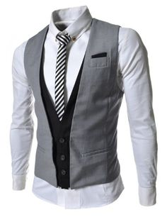 TheLees (VE35) Mens Layered Style 3 Button Slim Vest Waistcoat Gray Large(US Medium) TheLees http://www.amazon.com/dp/B008MHR7UO/ref=cm_sw_r_pi_dp_Q1Jhub1PTFDSY