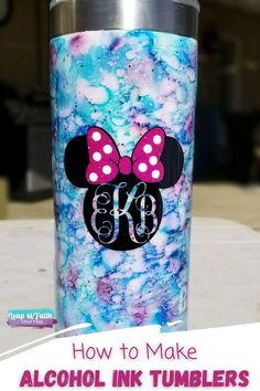 Learn how to use alcohol ink on tumblers to create a unique custom tumbler that is easy to personalize! Alcohol ink tumblers make a great gift for anyone. Diy Tumblers, Personalized Tumblers, Custom Tumblers, Walmart Makeup, Branded Mugs, Ozark Tumbler, White Spray Paint, Cranberry Color, Paint Line