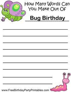 Spring Bugs Birthday Party Butterfly Snail Game How Many Words Can You Make Out Of BUG BIRTHDAY.png (2550×3300)