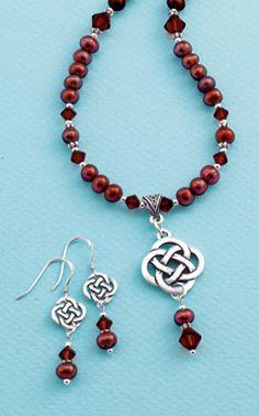 Merlot Pearl Celtic Knot Jewelry