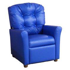 Brazil Furniture 4-Button Back Child Recliner Vinyl Blue - 400-VINYL-BLUE