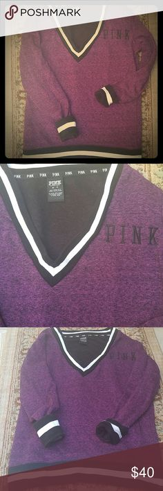 VS PINK VARSITY PULL-OVER SWEATSHIRT/SWEATER NWOT V-NECK Varsity Sweater.  Brand: PINK By Victoria's Secret Size: XS but runs big Fabric: 48% Cotton 47% Polyester 5% Viscose Base Color is Marled Purple, around neck/at wrist is black & white  Logo Embroidery on front of sweater  Bundle & save!! PINK Victoria's Secret Sweaters V-Necks