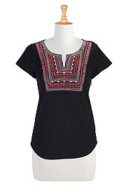 Graphic geo yoke knit tunic