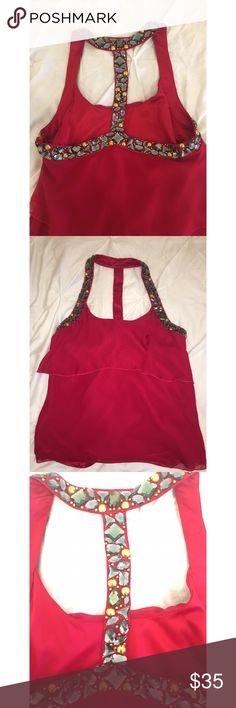 Bebe tank top Red bebe tank top with silver & gold jewels. Perfect condition. Bebe Tops Tank Tops