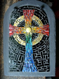 Rainbow Mosaic Celtic Cross by Margaret Almon | Glass, gold … | Flickr - Photo Sharing!