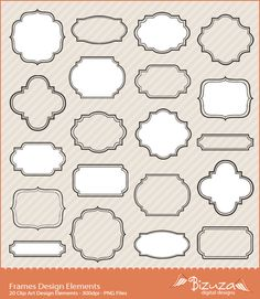 Digital FrameElements for Scrapbook Labels Tags in PNG File Scrapbook Background, Scrapbook Paper, Diy And Crafts, Crafts For Kids, Paper Crafts, Halloween Apothecary Labels, Gift Wrap Box, Drawing Frames, Letter Stencils