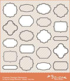 Digital Clip Art Frame Scrapbooking Labels PNG Images by Bizuza, $4.95