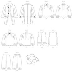 Butterick Sewing Pattern Coat, Vest, Shirt, Pants and Hat Mens Sewing Patterns, Hat Patterns To Sew, Costume Patterns, Patterned Sheets, Historical Costume, Hats For Men, Costumes, Etsy