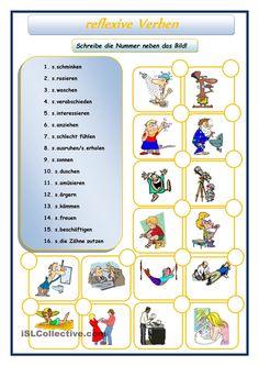 Reflexive Verben, German Resources, German Grammar, German Language Learning, World Languages, Learn German, Kids Learning, Germany, Classroom