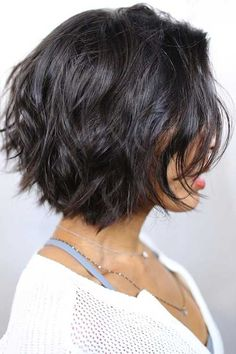 black hair layered messy bob, shorter in the rear for something different but…