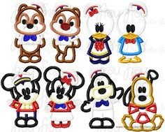Mister and Miss Mouse and Friends Cruise Ship EIGHT DESIGN SET Machine  Applique Embroidery Design, Multiple Sizes, including  4 inch
