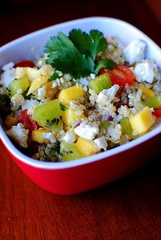 kiwi, mango, quinoa salad...replace the quinoa with brown rice and maybe i can try this!