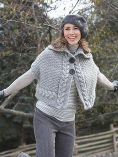 Cable Cape | Yarn | Free Knitting Patterns | Crochet Patterns | Yarnspirations