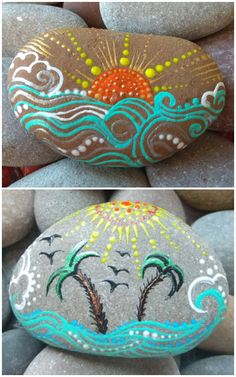Pebble Painting, Dot Painting, Pebble Art, Stone Painting, Painting On Shells, Figure Painting, Rock Painting Patterns, Rock Painting Ideas Easy, Rock Painting Designs