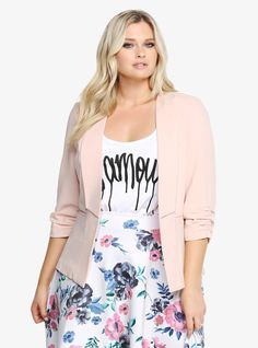Really love this combination of floral with graphic tee and blazer | Torrid-blazer-e1451334048353.jpg (720×972)