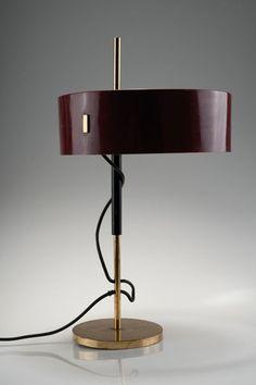 Giuseppe Ostuni; Brass and Enameled Aluminum Table Lamp for O-Luce, c1955.