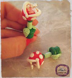 Super Mario Piranha Plant Earrings/ Polymer Clay by cutesycat