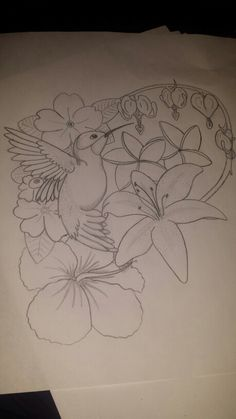 Hummingbird, primrose, plumeria, bleeding hearts, lily, hibiscus drawing I did. 2/23/15