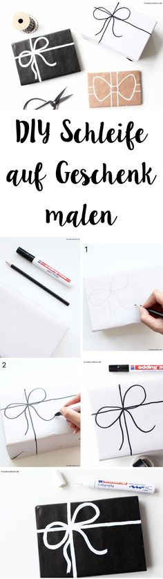DIY Schleife auf Geschenk malen | DIY painted Bow on Gift Wrapping