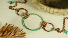 Green Verdigris and Copper Disk Anklet with by JadeButterflyStudio, $45.00