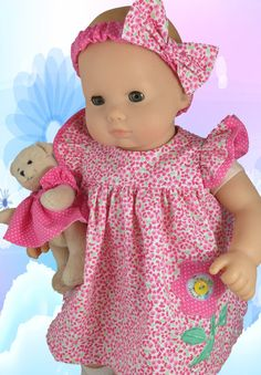 Flutter Sleeve Dress for Bitty Baby 15 inch by CrabapplesBoutique, $28.00--pattern by Crabapples also
