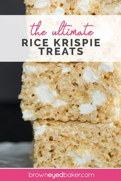 These Rice Krispies treats are huge, perfectly gooey, and even have some non-melted marshmallows mixed in! These Rice Krispies treats are huge, perfectly gooey, and even have some non-melted marshmallows mixed in! Köstliche Desserts, Delicious Desserts, Dessert Recipes, Rice Recipes, Fudge Recipes, Popcorn Recipes, Yummy Treats, Sweet Treats, Breakfast