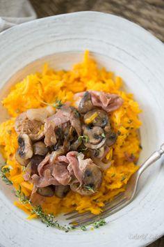 Paleo Herbed Butternut Squash Rice with Sausage, Mushroom and Prosciutto Ragu -