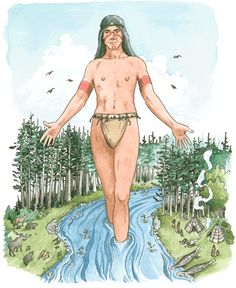 The Creator sent a bolt of lightening across the sky that created Wskitqamu - the Earth. From that same bolt, Glooscap was created out of the dry earth. Glooscap lay on Wskitqamu, pointing his head, feet and hands to the Four Directions. Glooscap became a powerful teacher, a supernaturally strong spiritual leader (kinap) and a healer (puoin) who used his powers for the wellbeing of all. Old West, First Nations, Nova Scotia, Deities, Mythology, Wander, North America, Nativity, Whale
