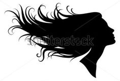 Silhouette of a girl Silhouette Tattoos, Silhouette Painting, Girl Silhouette, Blow Hair, Hair Sketch, Female Profile, Colorful Paintings, Dot Painting, Woman Face